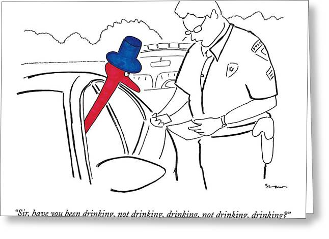 A Drinking Bird Toy Is Pulled Over By A Policeman Greeting Card by Michael Shaw