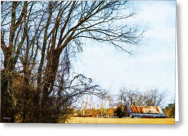Shed Digital Art Greeting Cards - Farm - Barn - A Drive in the Country Greeting Card by Barry Jones