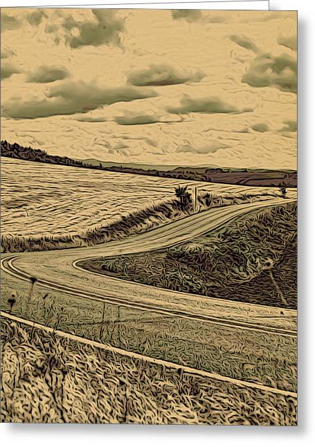 Rural Mixed Media Greeting Cards - A Drive in the Country Greeting Card by Bonnie Bruno
