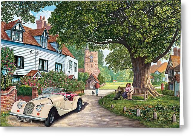 English Car Greeting Cards - A Drive Out Greeting Card by Steve Crisp