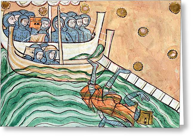 C11th Greeting Cards - A Drowning Viking, Possibly Olav Trygvason 968-1000 Of Norway At The Battle Of Svold On 9th Greeting Card by Anglo-Saxon