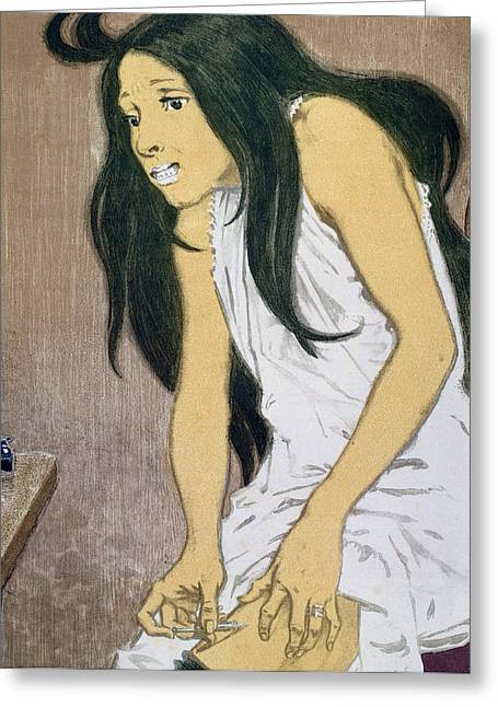 Nightdress Greeting Cards - A Drug Addict Injecting Herself Greeting Card by Eugene Grasset