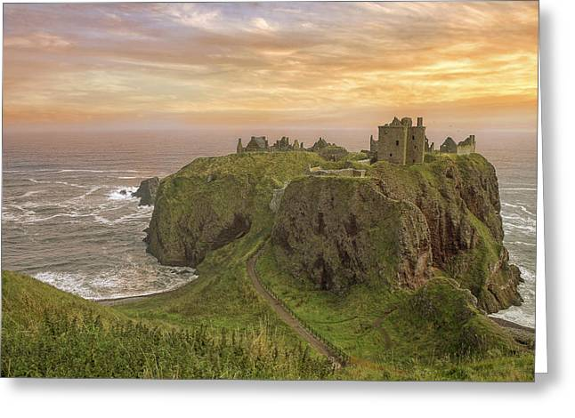 Amazing Sunset Greeting Cards - A Dunnottar Castle Sunrise - Scotland - Landscape Greeting Card by Jason Politte