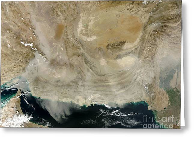 Ocean Of Emptiness Greeting Cards - A Dust Storm Stretching From The Coast Greeting Card by Stocktrek Images