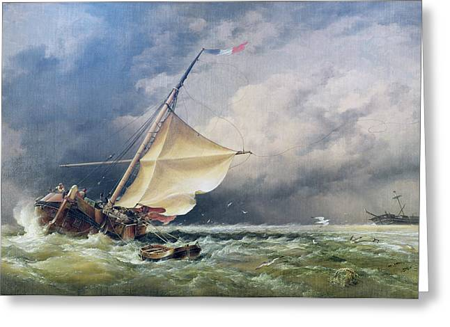 Rudders Greeting Cards - A Dutch Beurtman Aground Greeting Card by Edward William Cooke