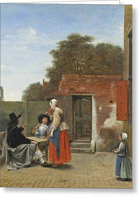 Flagon Greeting Cards - A Dutch Courtyard, C.1658-60 Oil On Canvas Greeting Card by Pieter de Hooch