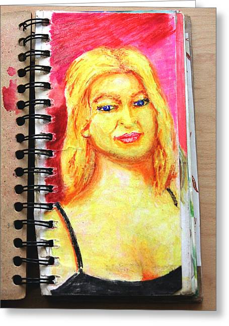 Sketchbook Greeting Cards - A Euro Blonde from A Sketchbook Greeting Card by Del Gaizo