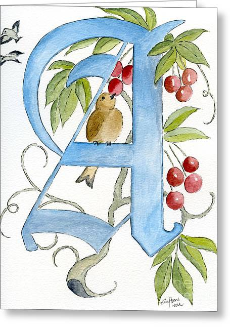 Calligraphy Drawings Greeting Cards - A Greeting Card by Eva Ason