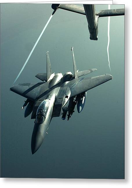 Iraq Greeting Cards - A F-15E disengaging from a KC-10 Greeting Card by Celestial Images