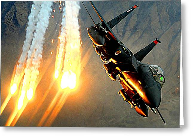 Sharpshooter Greeting Cards - A F-15E launching heat decoys Greeting Card by Celestial Images