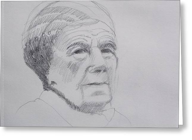 Senior Citizen Drawings Greeting Cards - A Face Full Of Character Greeting Card by Robert Rohrich
