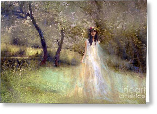 Orchard Digital Art Greeting Cards - A Fairy In The Orchard Greeting Card by Angel  Tarantella