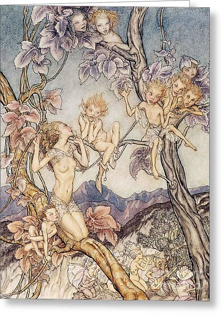 Fairies Drawings Greeting Cards - A Fairy Song from A Midsummer Nights Dream Greeting Card by Arthur Rackham