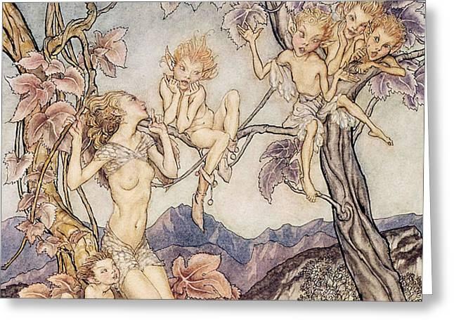A Fairy Song from A Midsummer Nights Dream Greeting Card by Arthur Rackham