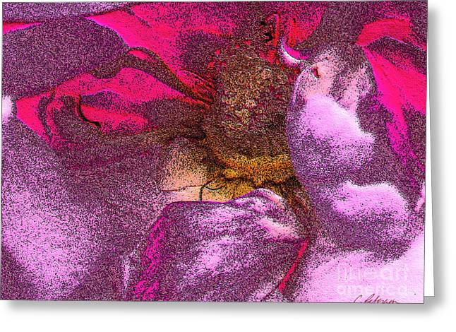Fairy Painter Greeting Cards - A Fairys Kiss  Greeting Card by Cathy Peterson