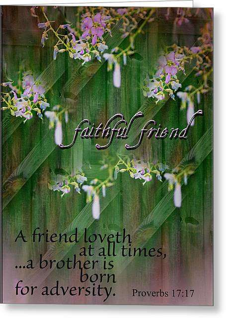 Bible Verse Canvas Art Prints Greeting Cards - A Faithful Friend Greeting Card by Larry Bishop