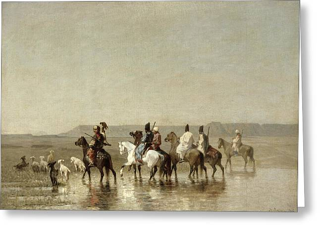 Beach Landscape Greeting Cards - A Falcon Hunt, 1862 Oil On Canvas Greeting Card by Alberto Pasini