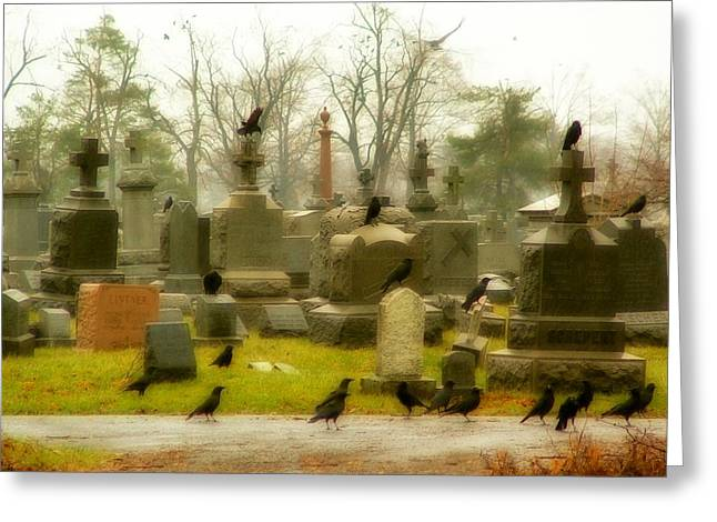 Autumn Graveyard Greeting Cards - A Fall Gathering Greeting Card by Gothicolors Donna Snyder