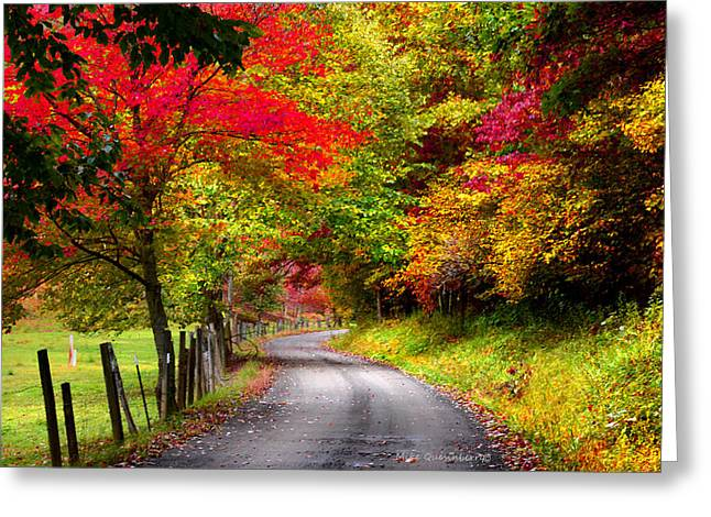 Autumn In The Country Digital Art Greeting Cards - A Fall Journey Greeting Card by Mike  Quesinberry