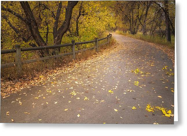 A Fall Walk Greeting Card by Michael Van Beber