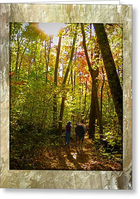 Sandi Oreilly Greeting Cards - A Fall Walk With My Best Friend Greeting Card by Sandi OReilly