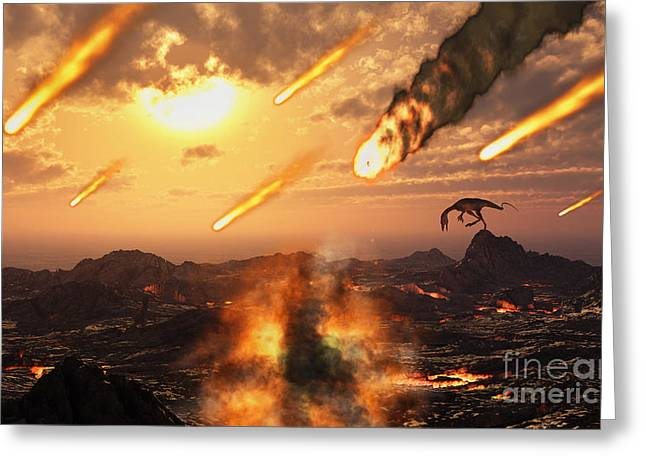 A Falling Asteroid And Meteorites Mark Greeting Card by Mark Stevenson