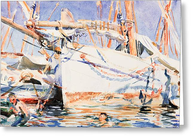 Breezy Greeting Cards - A Falucho Greeting Card by John Singer Sargent