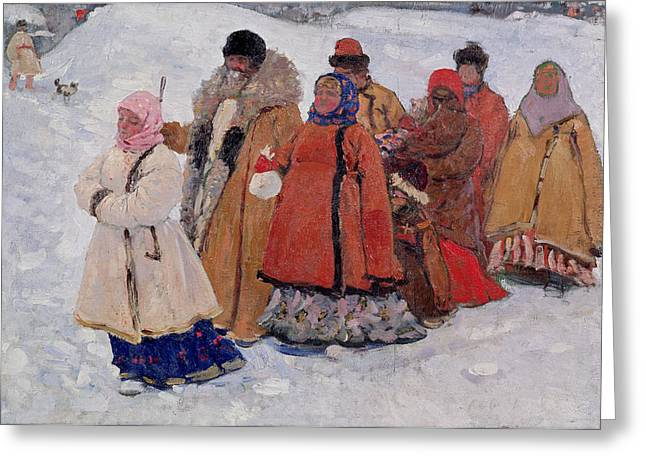 Peasant Greeting Cards - A Family, 1909 Oil On Canvas Greeting Card by Sergej Vasilevic Ivanov