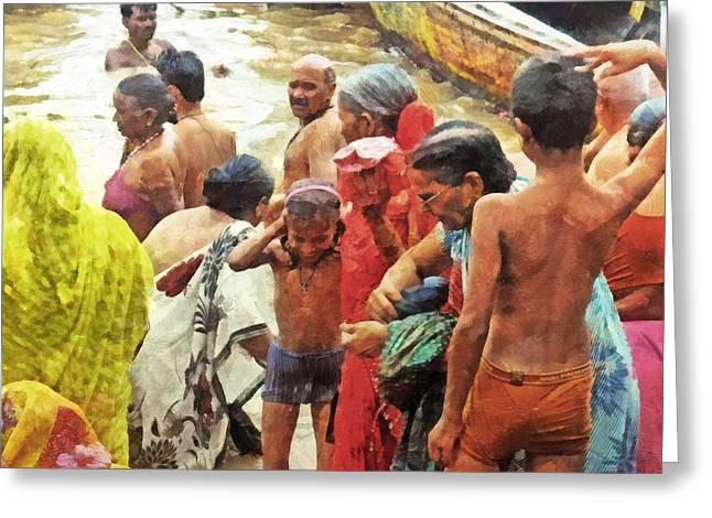 The Ganges Greeting Cards - A Family Bathing in the Ganges River Greeting Card by Digital Photographic Arts
