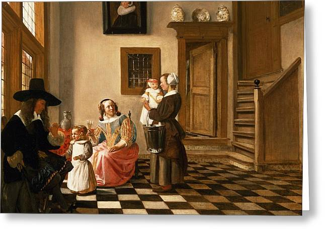 Tile Greeting Cards - A Family In An Interior Greeting Card by Hendrik van der Burgh