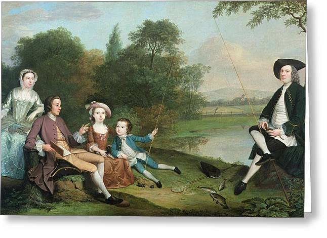 Pastimes Greeting Cards - A Family Of Anglers, 1749 Oil On Canvas Greeting Card by Arthur Devis