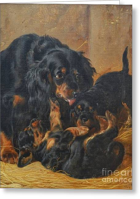 Gordon Setter Puppy Greeting Cards - A Family of Gordon Setters Greeting Card by Richard Ansdell