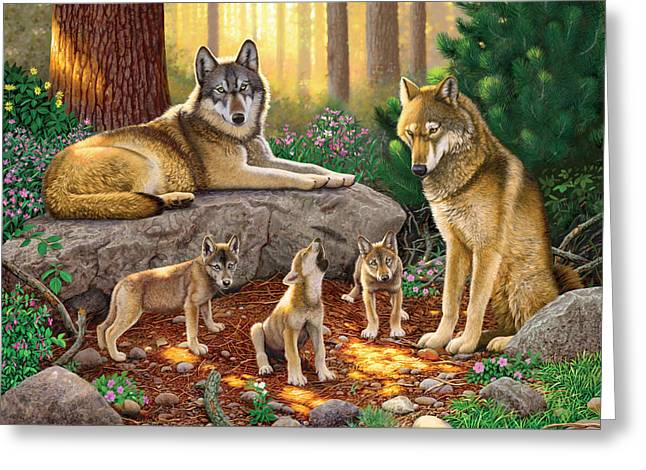 Howl Greeting Cards - A Family Of Wolves Greeting Card by Chris Heitt
