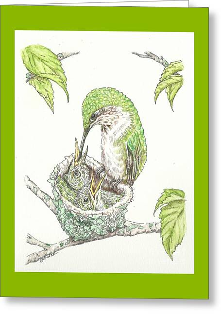 Baby Bird Drawings Greeting Cards - A Family Tree Greeting Card by Sue Bonnar