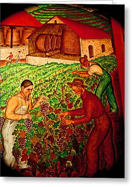 Vineyard Worker Prints Greeting Cards - A Family Vineyard Greeting Card by Joseph Coulombe
