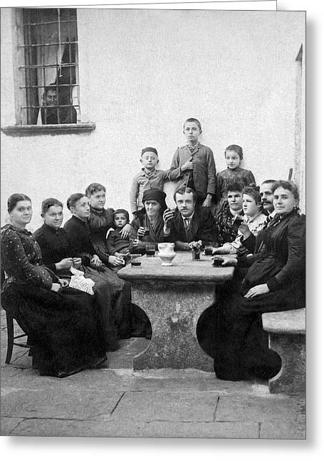 A Family Wine Gathering Greeting Card by Underwood Archives