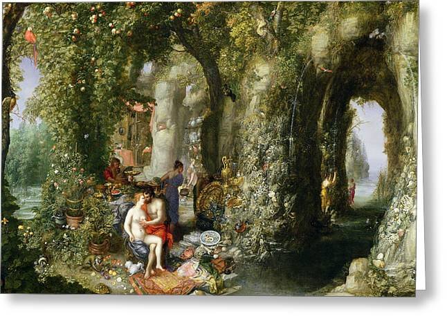 Bewitched Greeting Cards - A Fantastic Cave With Odysseus And Calypso Oil On Canvas Greeting Card by Jan the Elder Brueghel