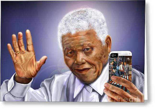Civil Rights Leader Greeting Cards - A farewell Selfie To The World - Nelson Mandela  Greeting Card by Reggie Duffie