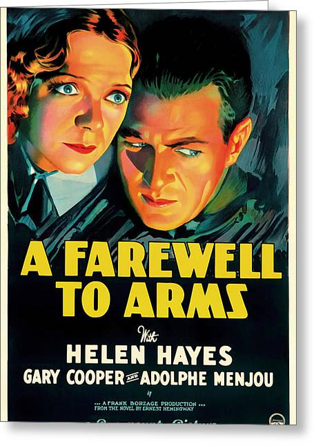 Historical Pictures Mixed Media Greeting Cards - A Farewell to Arms Movie Poster 1932 Greeting Card by Mountain Dreams
