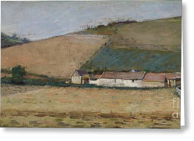 Crops Paintings Greeting Cards - A Farm Among Hills Greeting Card by Theodore Robinson