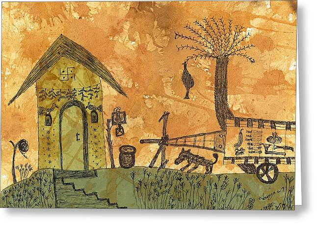 Bamboo House Greeting Cards - A Farm in India With Hut and Bull Cart Greeting Card by Nikunj Vasoya