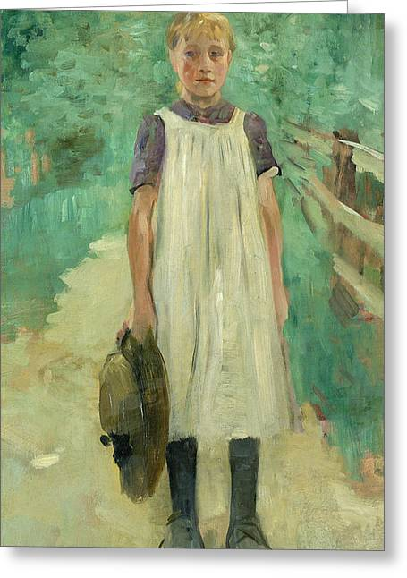 Youthful Paintings Greeting Cards - A Farmgirl Greeting Card by Thomas Ludwig Herbst