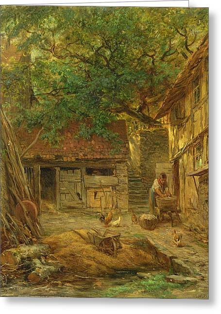 Shed Photographs Greeting Cards - A Farmhouse Courtyard, 1862 Oil On Canvas Greeting Card by Anton Burger