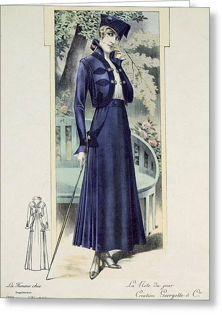 Pillar Box Greeting Cards - A Fashionable French Lady Greeting Card by French School