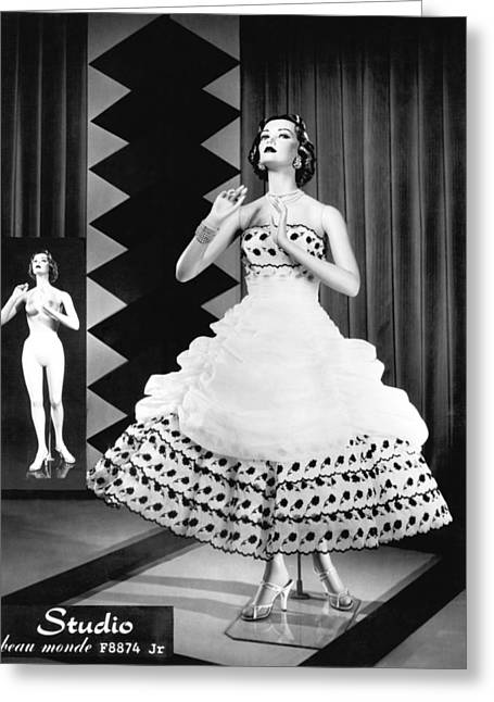 A Fashionable Mannequin And Her Unclothed Version In The Backgro Greeting Card by Underwood Archives
