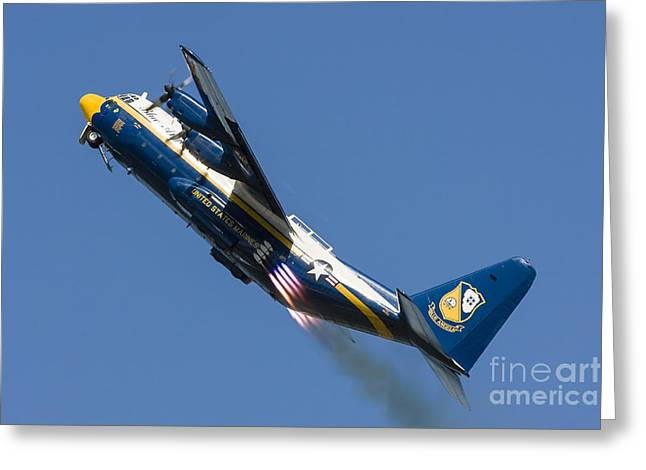 Angel Blues Greeting Cards - A Fat Albert C-130 Hercules Performs Greeting Card by Rob Edgcumbe