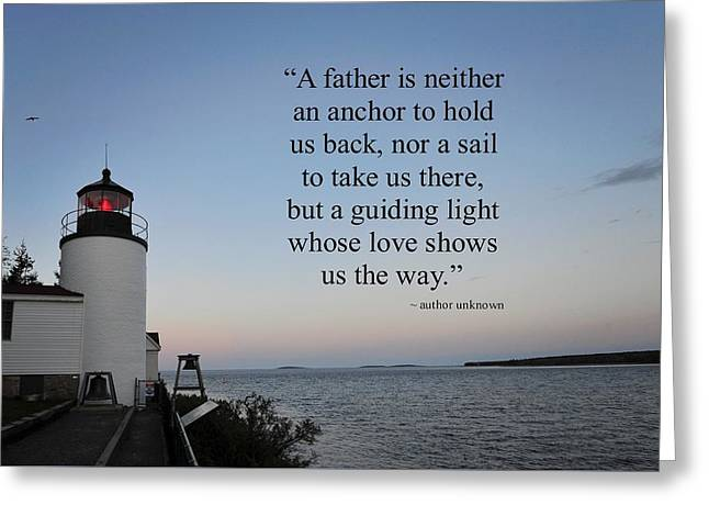 Bass Head Lighthouse Greeting Cards - A Father Greeting Card by Terry DeLuco