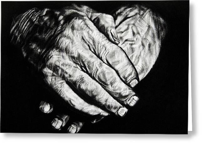 Veins Drawings Greeting Cards - A Fathers Hands Greeting Card by Ann Supan