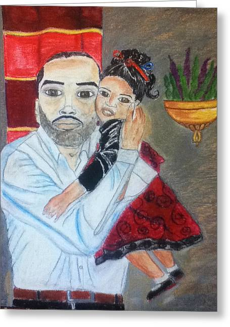 Father Pastels Greeting Cards - A Fathers Love Greeting Card by LeWanda Laboy