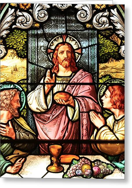 Biblical Scene Greeting Cards - A Feast With Jesus Greeting Card by Adam Jewell